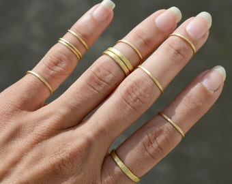 Rustic Thick Band Rings Set of 3 Hammered Gold Wire Rings Stackable Rings Jewelry
