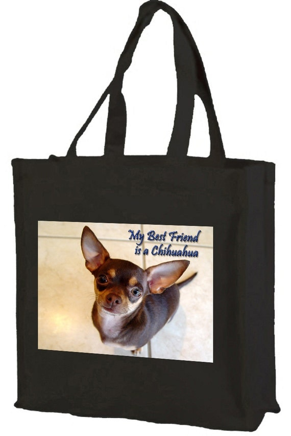 Chihuahua Cotton Shopping Bag with gusset and long handles, 3 colour options