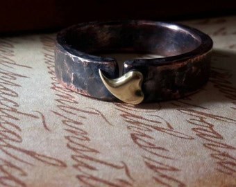 Ring - Heart -Forged Copper with Brass Heart