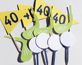 Golf Birthday Cupcake Toppers; Golfing Party ; Yellow, Blue, and Green Golf Party Decorations; Food Picks; Golf Ball, Golf Club, Golf Flag