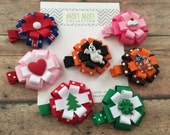 Holiday Hair Bow Set, 7 Holiday Bow Gift Set, Holiday Clip Set, Baby Shower Gift,Girl Christmas Gift, Hair Bow, Hair Accessory, Holiday Bows