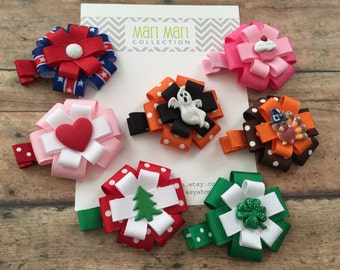 Holiday Hair Bow Set - 7 Holiday Bow Gift Set - Holiday Clip Set - Baby Shower Gift - Girl Christmas Gift - Hair Accessory - Holiday Bows