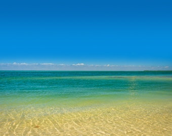 Turquoise waters in the Gulf of Mexico, Islamorada, in the Florida Keys - Photography Fine Art Print or Wrapped Canvas