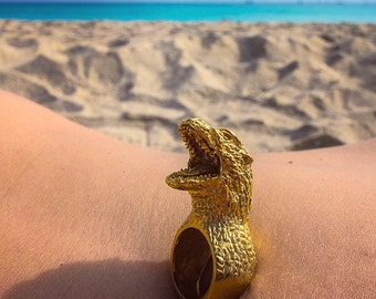 "Godzilla ""Gojira"" 18-kt Gold Plated Ring"