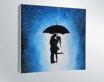 Easter Gift On Sale Couple Under The Umbrella Painting Wall Decor Artwork Home