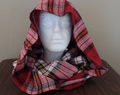 FI01: Fabric Infinity Scarf (Red Plaid Flannel) FREE SHIPPING