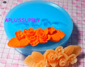 HYL009 Vintage Flower Rose Barrette Silicone Flexible Push Mold - Miniature Food Sweets, Jewelry, Charms (Clay Fimo Fondant Wax)