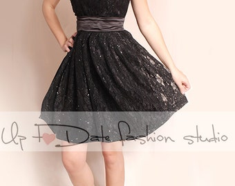 Wedding  black  lace dress/short sleeves Bridal Gown/ short sleeve