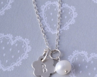 Sterling Silver personalised daisy flower and freshwater pearl flower girl necklace