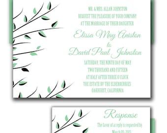 Wedding Invitations , Park Green Modern Wedding Invite, Green Wedding Card - Set of 50