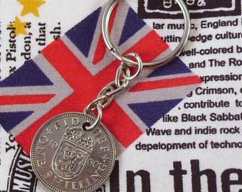 1960 Old Scottish Shilling Coin Keyring Key Chain Fob Queen Elizabeth
