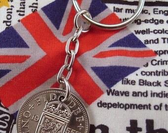 1955 Old Scottish Shilling Coin Keyring Key Chain Fob Queen Elizabeth