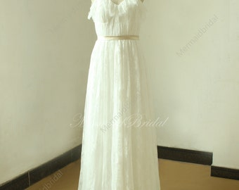 Ivory A line beach lace wedding dress, wedding gown with champange sash