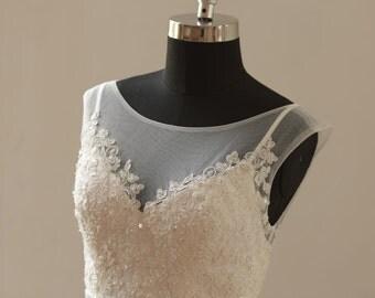 A-line beach/destination beading wedding dress