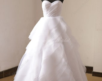 Romantic white organza wedding dress