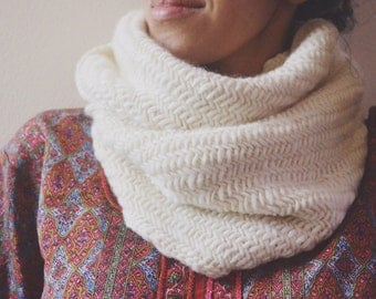 Astrid Cowl in Ivory/ Chunky Herringbone Knit Infinity Scarf, autumn and winter, white