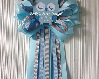 Baby Blue Owl Mommy-To-Be Baby Shower Corsage, Owl Corsage, Mommy To Be corsage.