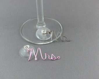 Suction Cup Wine Charms for all Glasses - Mr & Mrs Wine Glass Charms - Unique Wedding Favors