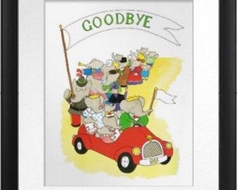 Goodbye prints, Babar the Elephant Nursery Print,  French children's book, Histoire de Babar by Jean de Brunhoff