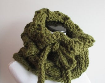 Green Drawstring Cowl - Cilantro Cowl - Dark Olive Cinchable Knit Scarf - Chunky Green Cowl - Knitted Shrug with Tie
