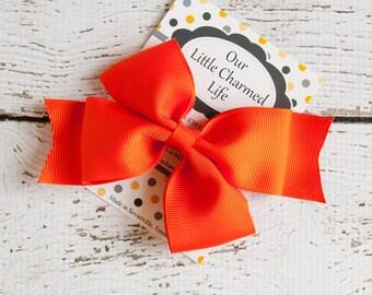 Orange Hair Bow, Orange Hairbow, Orange Hair Clip, Halloween Hair Bow, Halloween Hairbow, Toddler Hair Bow, 5 Inch Hair Bow