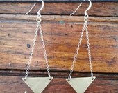 Textured brass triangles with sterling silver chain