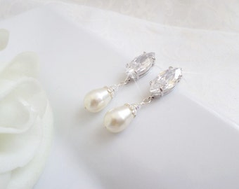 Cubic Zirconia Marquise And Swarovski Pearl Bridal Earrings Marquise Bridal Earrings Simulated Diamond Bridal Earrings FREE US Shipping