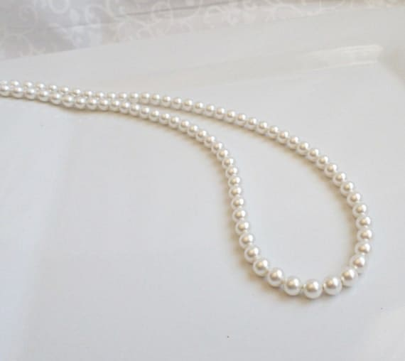 Single Strand Pearl Necklace: Single Strand Swarovski Pearl Necklace Classic By