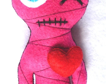The Little Mummy (hot pink) Gothic Felt Voodoo Doll