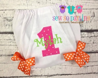 1st Birthday Diaper Cover - Birthday Baby Bloomers - Baby Girl Personalized Bloomers - Personalized Diaper Cover