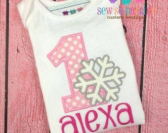 Baby girl Winter birthday Outfit - Birthday Snowflake Shirt - 1st Birthday Clothes - Baby Girl snowflake Birthday