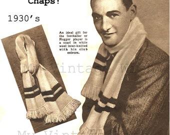 Vintage 1930s Scarf Vintage Knitting Pattern - PDF Intant Download