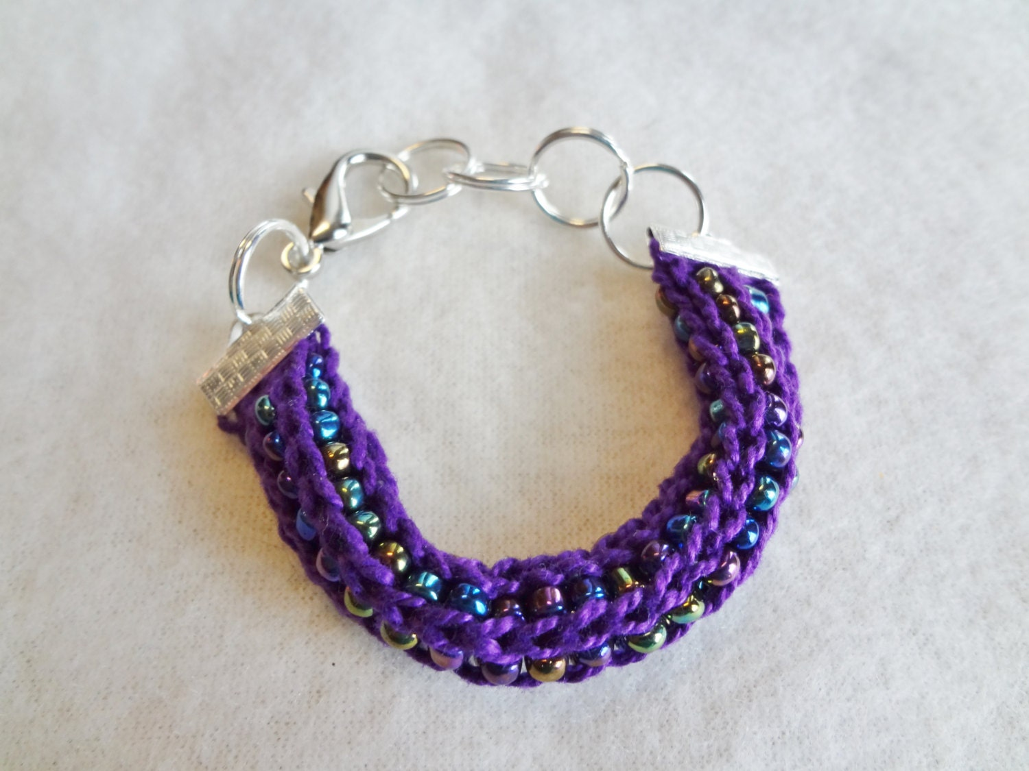 French Knitting With Beads : French knit beaded bracelet purple with by spindlecityknits