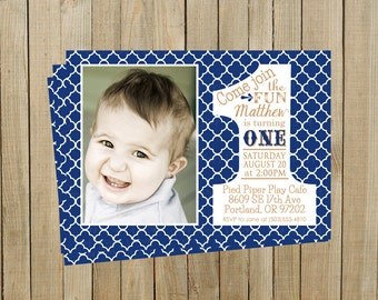 Quatrefoil Navy Blue First Birthday Invitation, One, Boy or Girl, Printable, Custom Digital File