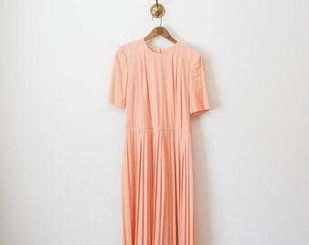 70s pale peach pleated dress