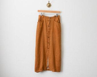 70s rust button down linen skirt