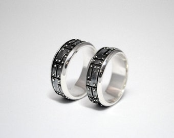 "Sterling Silver Industrial Wedding Rings ""Pacarendus"" I Alternative Wedding Rings 