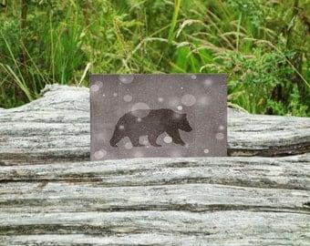 Bear Print 4 x 6, 5 x 7, Bear Art, Bear Silhouette, Bear Decor, Winter Print, Woodland, Rustic, Winter Decor, Metallic Print, Snowy