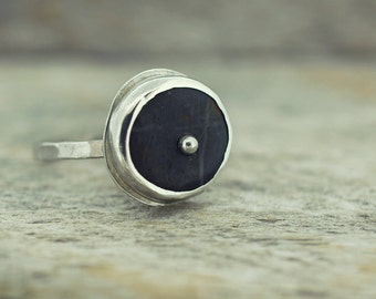 Silver Ring, Beach Stone Ring, River Rock Ring, Beach Stone Jewelry, River Rock Jewelry, Simple Silver Ring, Delicate Ring, Women's Ring