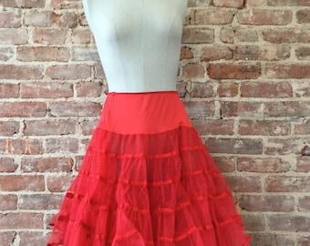 Red Crinoline Skirt - Crinoline Slip - Pettiskirt - Petticoat - Best Selling Vintage - Top Seller
