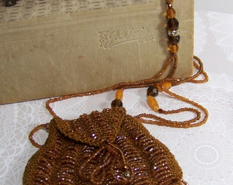 "Secret Hiding Place Copper Beaded Purse Necklace Amulet Keeper 30"" Long"