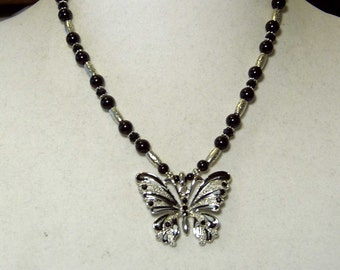 "Cynthia Lynn ""FLYING COLORS"" Silver Plated Black & Silver Beaded Butterfly Necklace 16-18"""