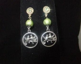 Green Lovebird Jeweled Stud Earrings