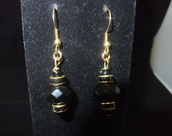Black Crystal & Gold Earrings