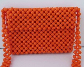 Mod Tangerine Purse Bag Bright Orange 1960s - 70s Purse Handbag Hong Kong