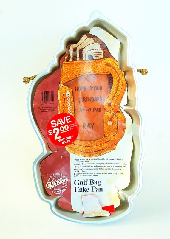 Vintage Wilton Cake Pan Golf Bag Clubs 1987 by FeelzLikeHome