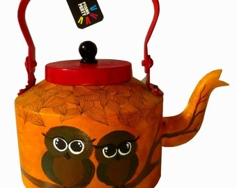 Owlies-Hand-Painted Kettle/teapot From India
