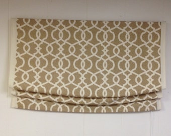 Childsafe Custom Relaxed Roman Shade in Magnolia Home Emory Wheat, traversing clutch system DO NOT PURCHASE listing
