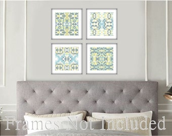 abstract Bue Yellow Art Set of 4 Prints • Modern Contemporary Abstract Art Set in Grey, Blue, and Yellow