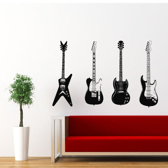 Modern Musical Instruments: Four Guitars Musical Instrument Housewares Wall Vinyl Decal